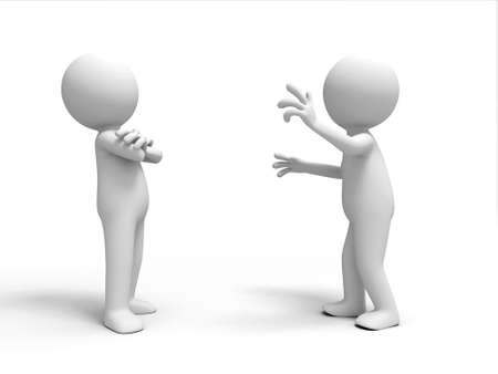 businessman standing: A man in explain to another person