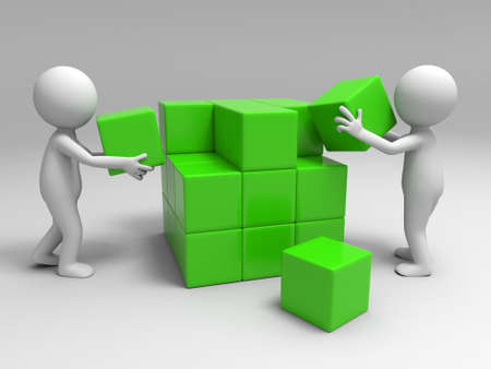 Two people are building blocks photo