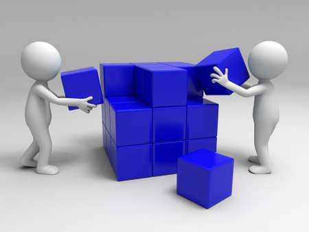 cube puzzle: Two people are building blocks
