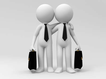 la union hace la fuerza: Dos hombres de negocios, hombro con hombro