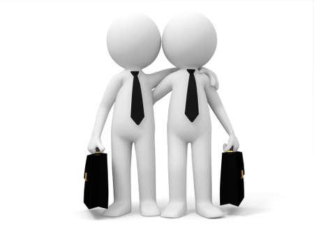 trust icon: Two businessmen shoulder to shoulder