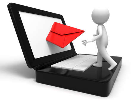 e mail: A man in receiving the E-mail Stock Photo