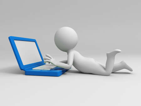 using computer: A 3d people using a computer