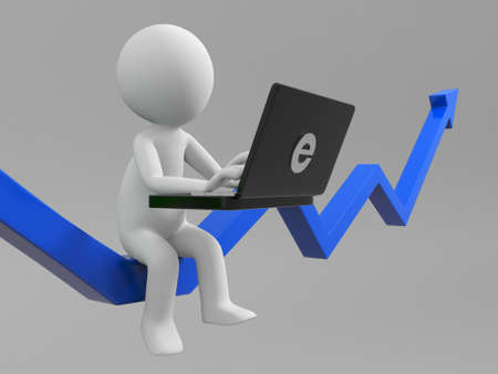 A 3d people using a computer Stock Photo - 15405165