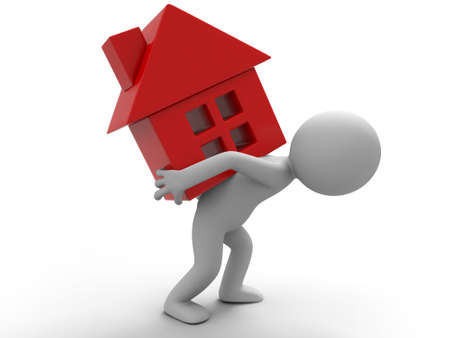 housing problems: A man carrying a house