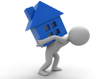 back problem: A man carrying a house