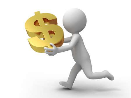 salaires: Un homme qui court avec un dollar US