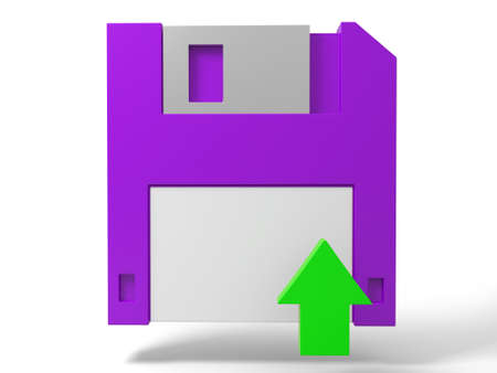 A Floppy disk and a arrow Stock Photo - 15405068
