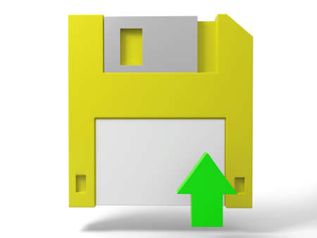 paper art projects: A Floppy disk and a arrow Stock Photo