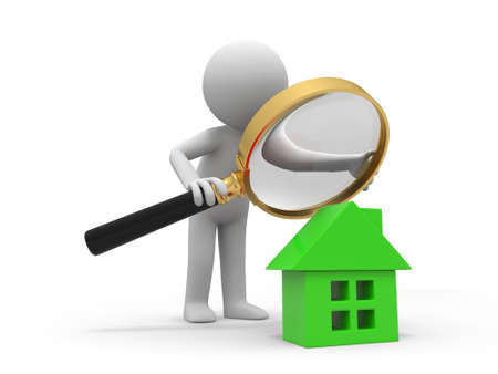 A person with a magnifying glass to check a house photo