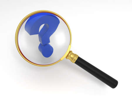 Magnifying glass and question mark photo
