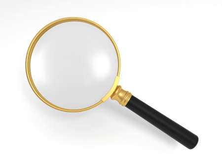 A gold magnifying glass photo