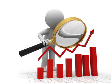 A person when looking at the bar chart Stock Photo - 15390470