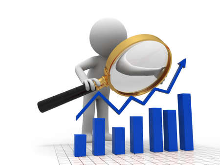 A person when looking at the bar chart Stock Photo - 15390471
