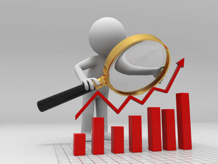 A person when looking at the bar chart Stock Photo - 15390479