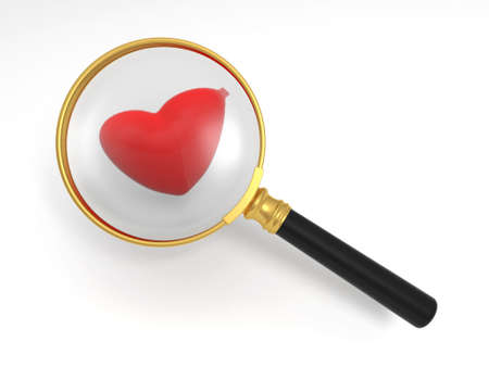 A magnifying glass and a heart photo