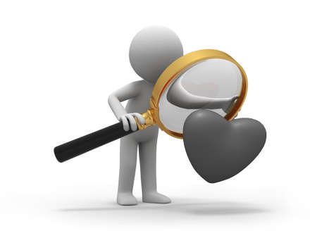 finding love: A person when looking at a heart