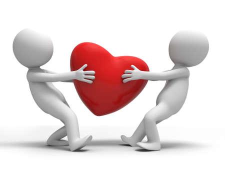 declaracion de amor: Dos hombres que luchan por un coraz�n Foto de archivo