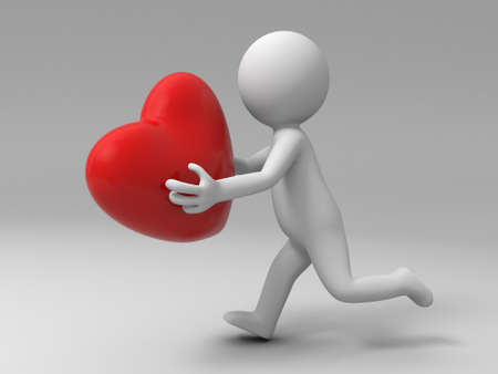 enamorados caricatura: Un hombre est� en ejecuci�n para enviar un coraz�n