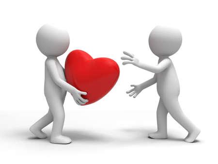 hartje cartoon: Een man nam een hart naar de andere