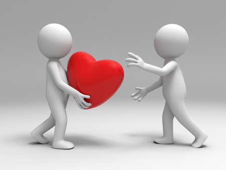 baiser amoureux: Un homme a un c?ur � l'autre Banque d'images
