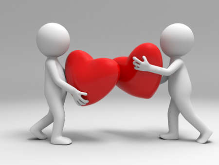 Two men took the two hearts put together photo