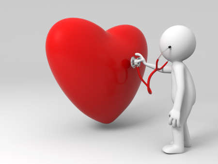 listening to heartbeat: A person are diagnosing the heart Stock Photo
