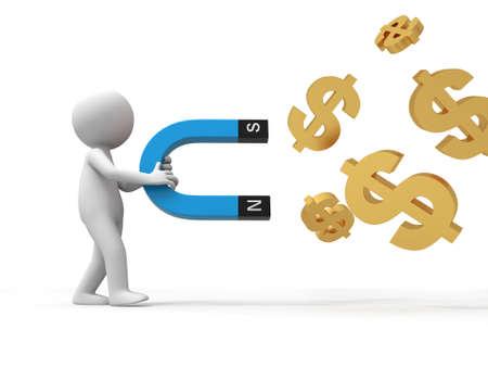 magnetismus: Ein 3D Menschen sammeln Dollar mit einem Magneten