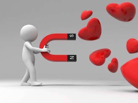 Een 3d mensen verzamelen liefde met een magneet