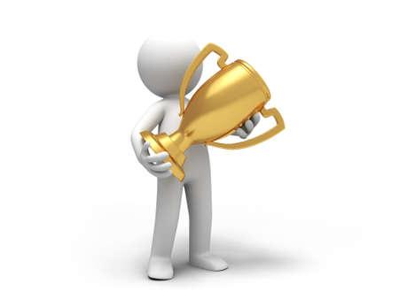 accolade: A man holding a heart a trophy