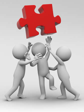 Three people are fighting for a puzzle Stock Photo - 15390056