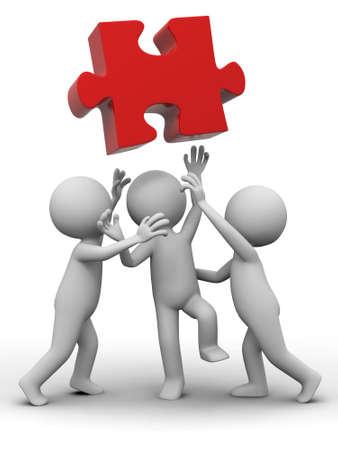 jigsaws: Tre persone stanno lottando per un puzzle Archivio Fotografico