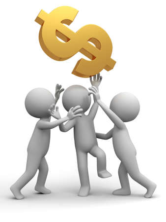 Three people are fighting for dollars Stock Photo - 15390047