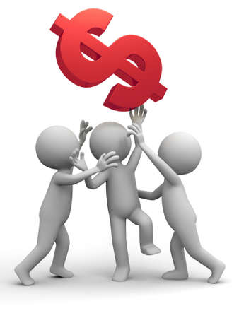 Three people are fighting for dollars Stock Photo - 15390045