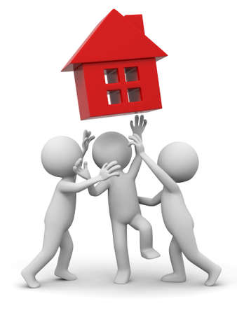 conceptual cute: Three people are fighting for a house