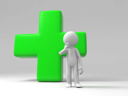 3d nurse: A man standing in front of a cross Stock Photo
