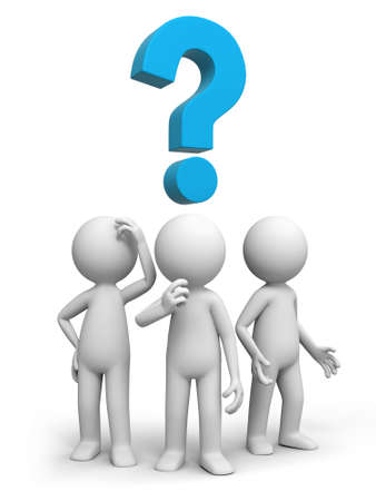 asking question: Three people are thinking about