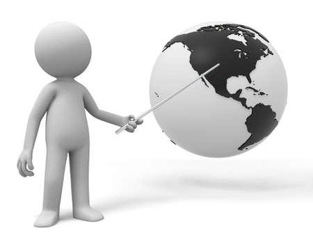 paz mundial: Un hombre est� explicando la tierra