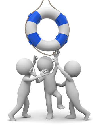 life preserver: Life buoy Three people is fighting for a life buoy Stock Photo