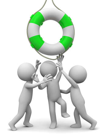 rescuer: Life buoy Three people is fighting for a life buoy Stock Photo