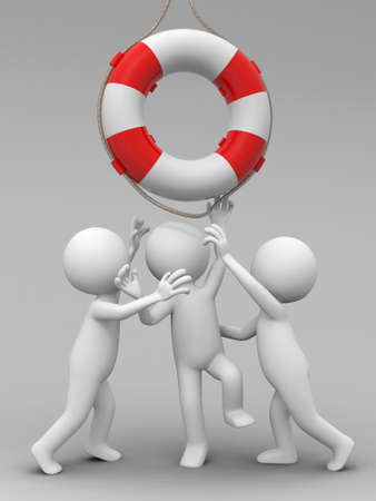 buoy: Life buoy Three people is fighting for a life buoy Stock Photo