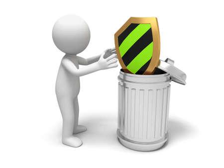 Shield  shield and trash can Stock Photo - 15454011
