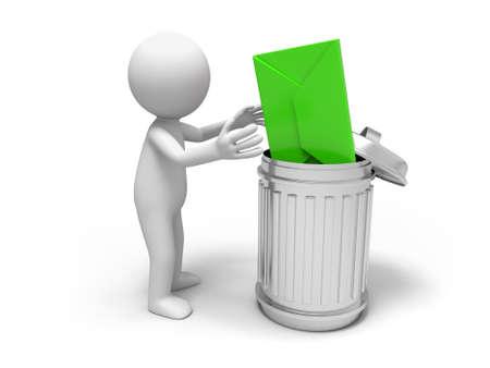 trash basket: Letter letter and trash can
