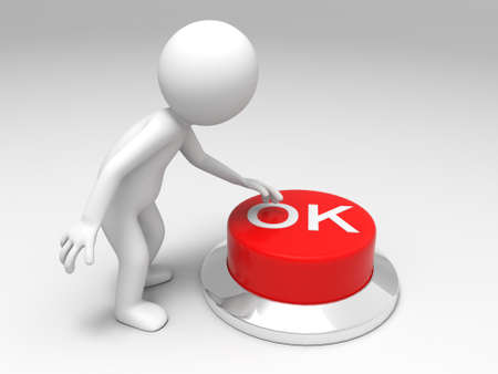 OK button  A man is pushing the button Stock Photo - 15453810