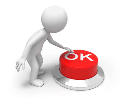key board: OK button  A man is pushing the button Stock Photo
