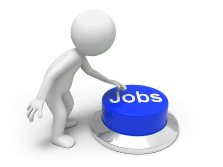 Find jobs  A man is pushing the button Stock Photo - 15453949