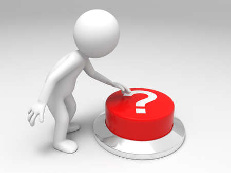 frequently: Find answers  A man is pushing the button