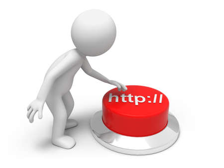webhosting: internet  A man is pushing the button