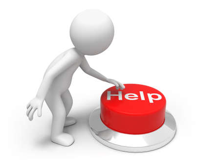 rapid fire: For help   A man is pushing the button Stock Photo