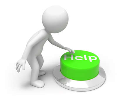 For help   A man is pushing the button Stock Photo - 15453894